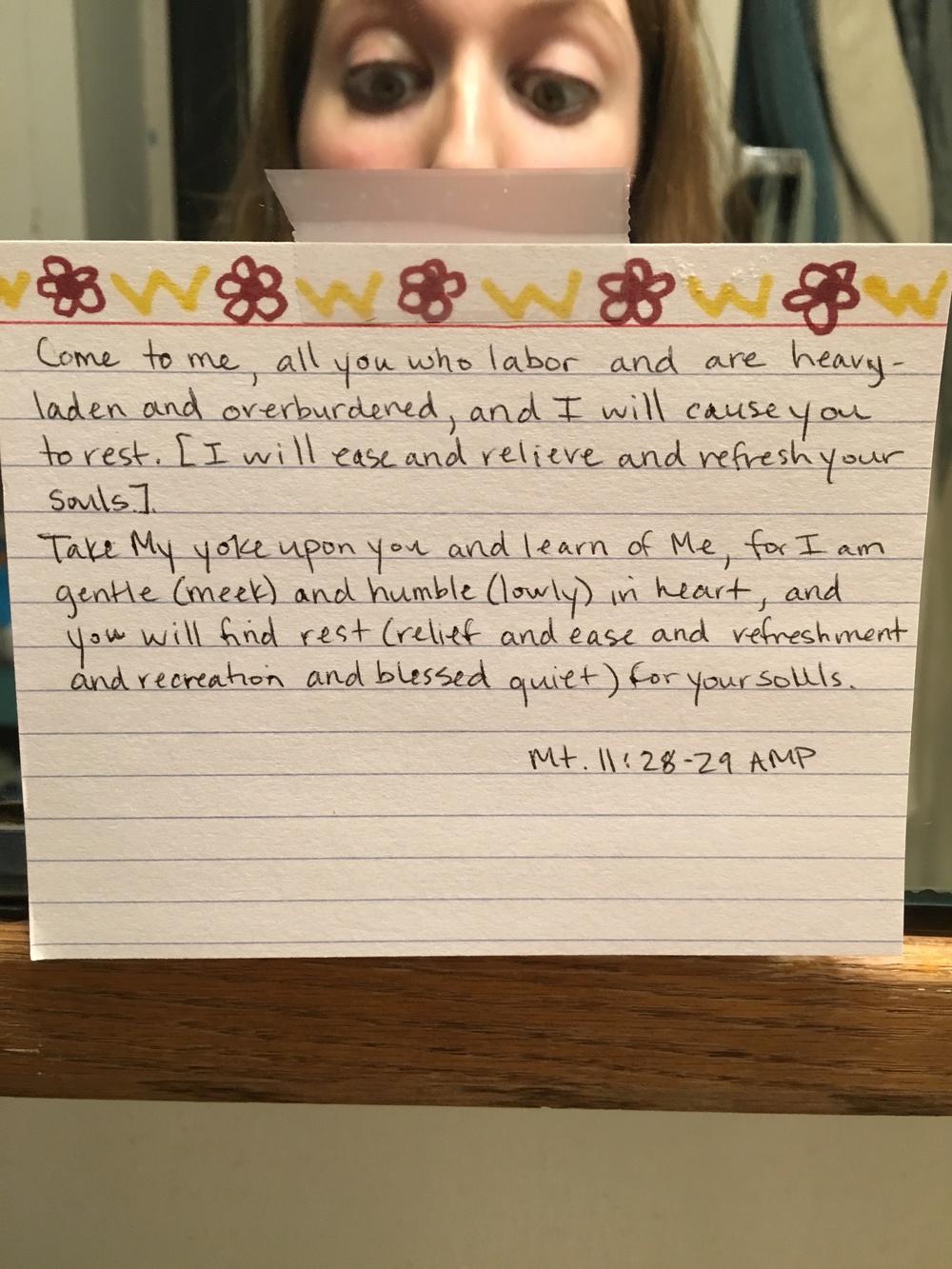 My bathroom scripture bomb lovingly sent from my BFF last fall.