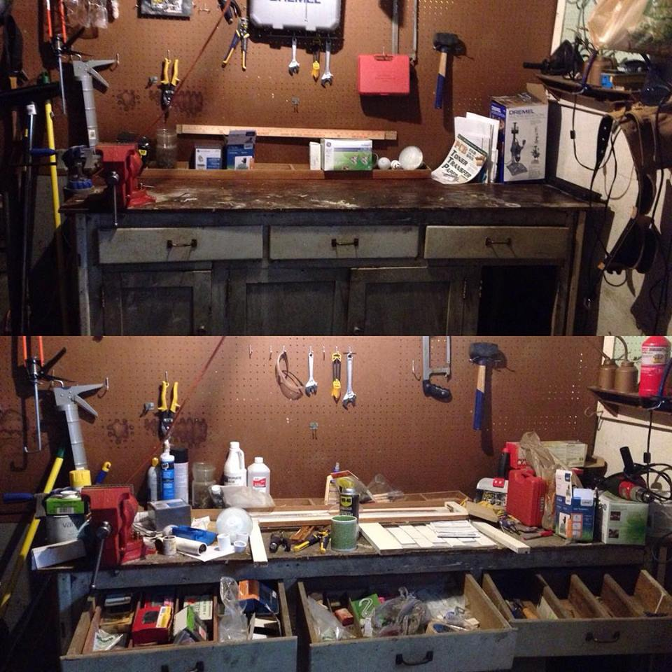 The bottom is before the clean up and the top is after. Basement sanctification at work!