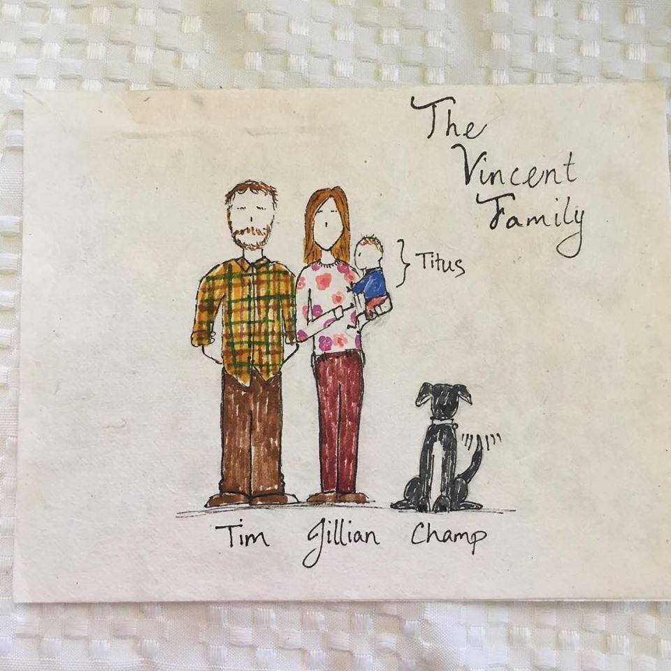 Our family, drawn by a dear friend.