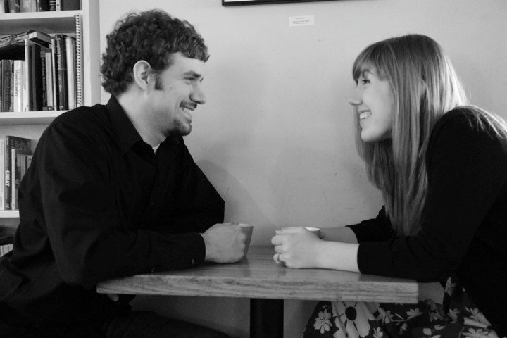 One of our engagement photos, taken at a cafe in Yellow Springs Ohio six years ago, not surprisingly centered around a cup of Joe.