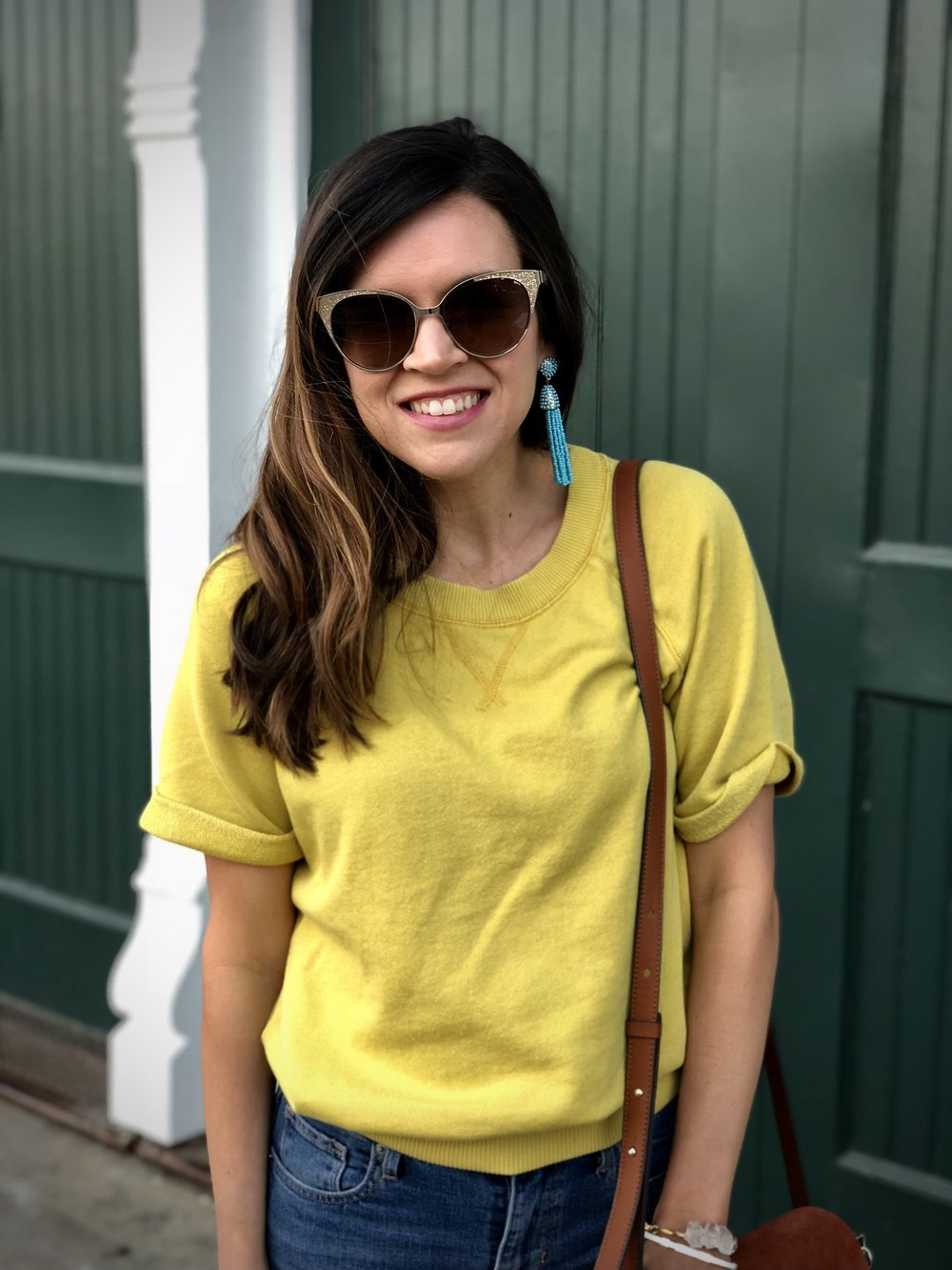 yellow short sleeve sweatshirt