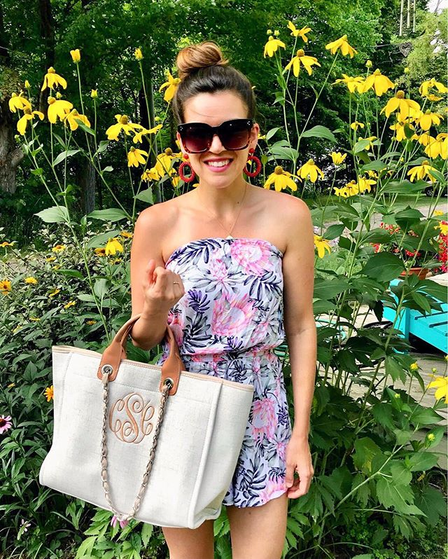 Happy Monday! How cute is this Monogrammed bag from @shopilovejewelry ?! I've been using it as an everyday bag for travel. It fits everything and is super versatile! P.S. my romper is $13 and makes a great beach coverup and is linked! http://liketk.it/2wRdV @liketoknow.it #LTKitbag #LTKunder100 #LTKunder50 #liketkit