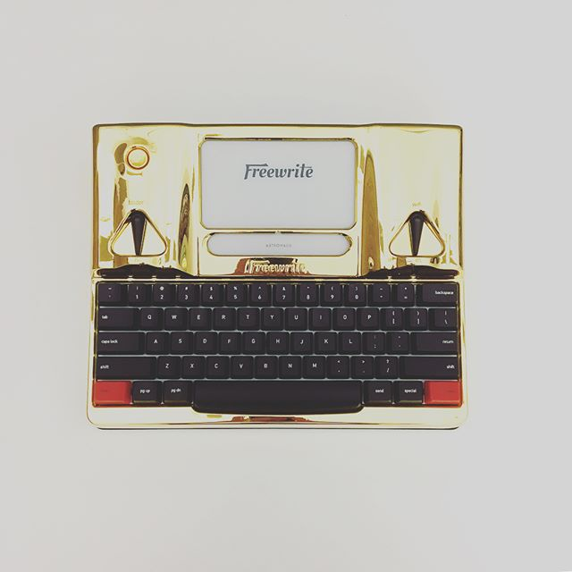 Astrohaus Freewrite with 24k gold plating. That's real gold - plated at a local shop that mostly services satellite components #Freewrite