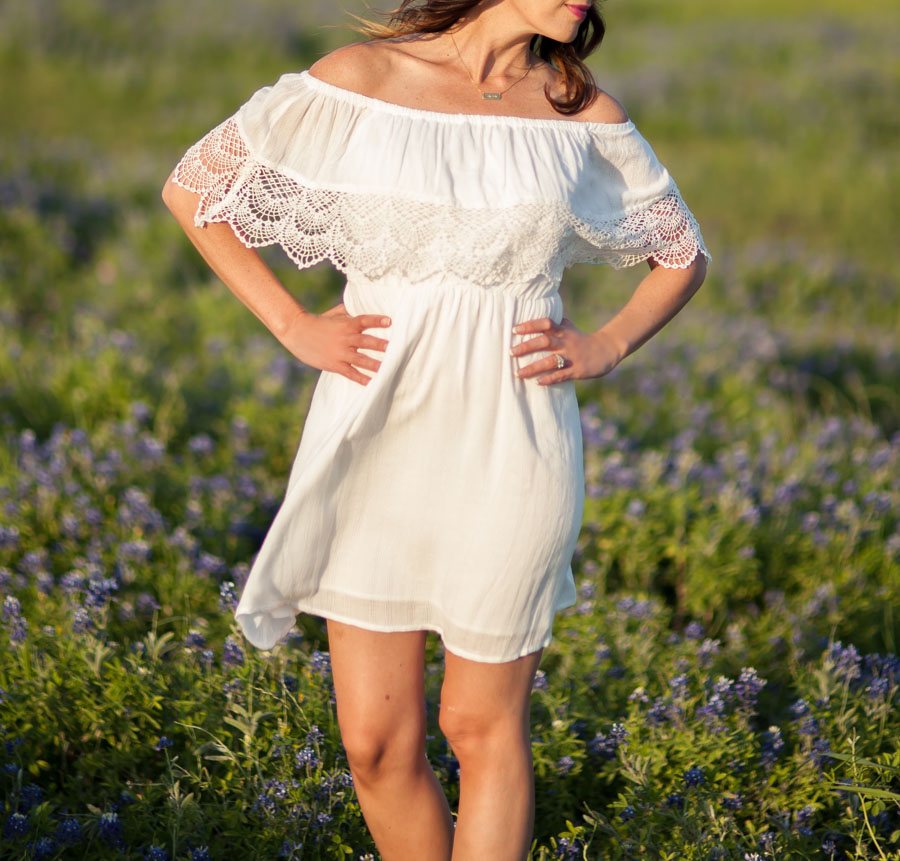 Love the lace detail on this   dress  ! I thought it would be the perfect dress for bluebonnet pics!