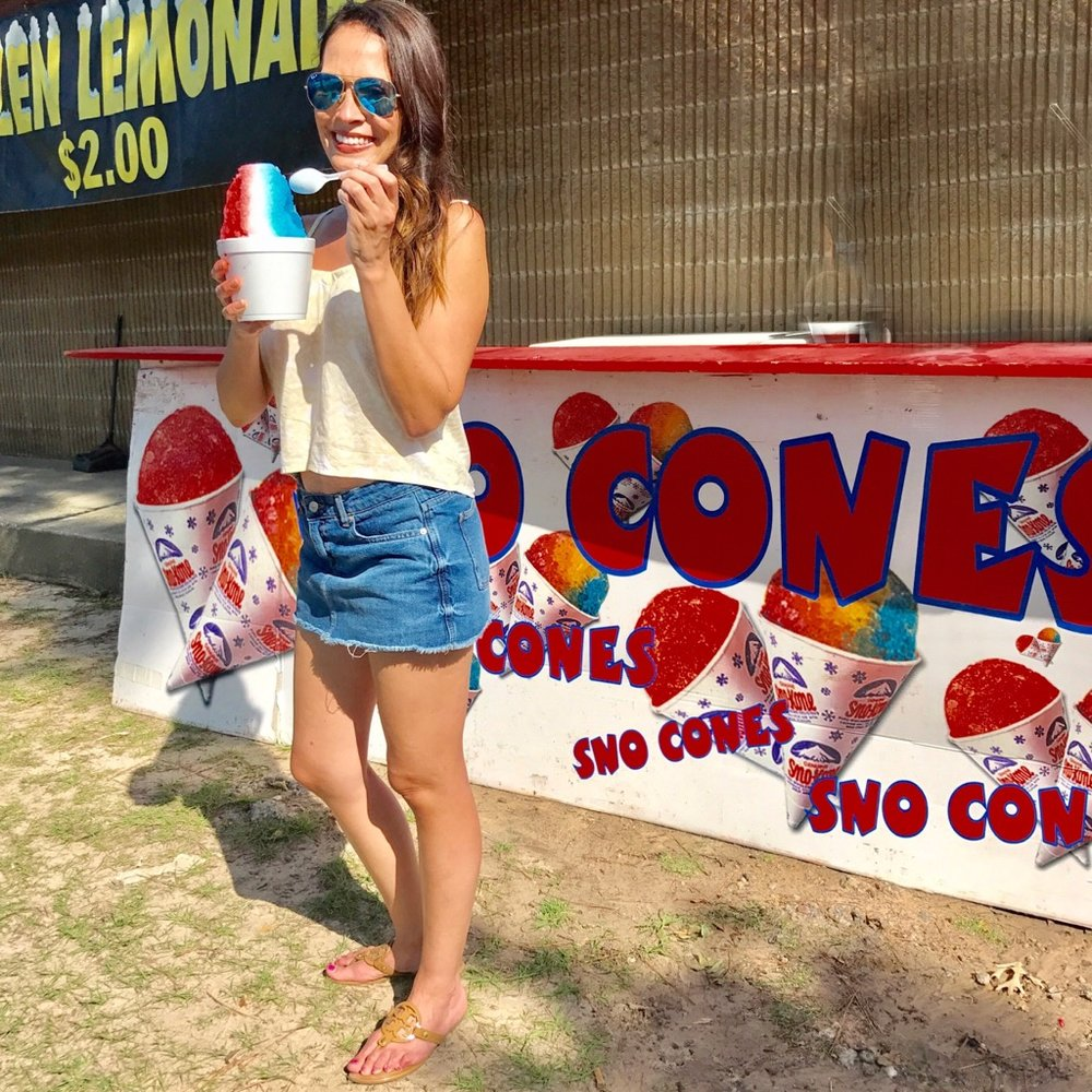 It was a beautiful weekend but it was very hot. In fact, it was unseasonably warm even for Houston. I stayed cool with this light tank, denim skort and of course a snow cone!  My top   here   / My skort   here   / My shoes   here