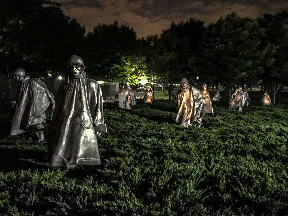 The Korean Veterans Memorial   is probably one that has been overlooked compared to other popular sights but this is one of the most beautiful memorials I've seen! It's worth checking out!