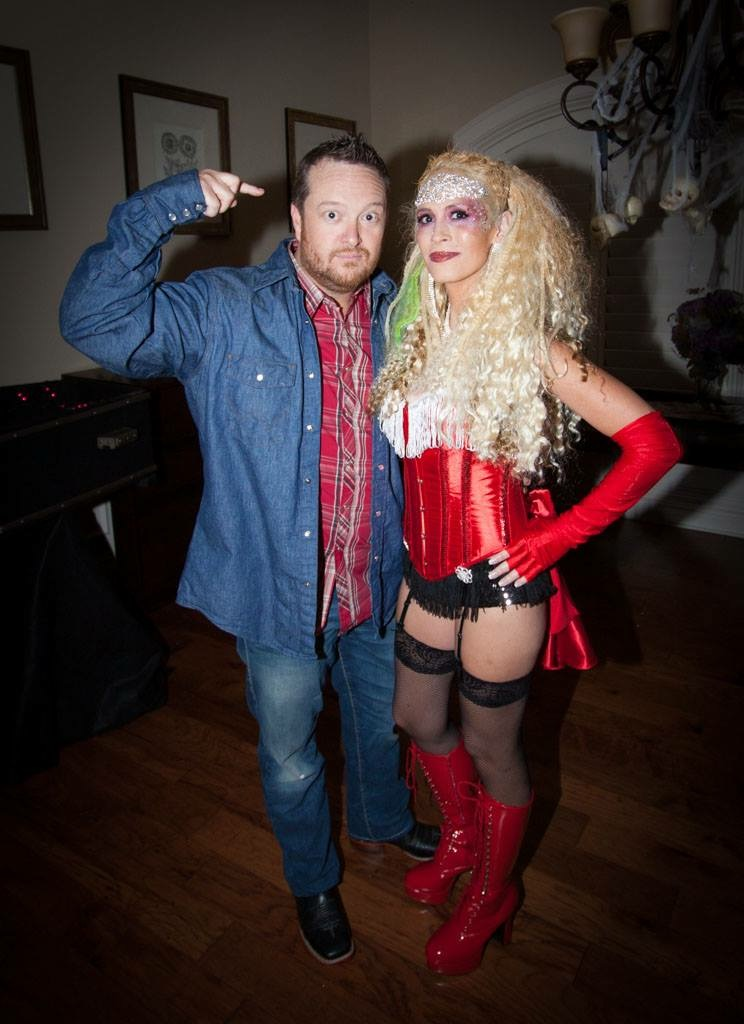 Blake Shelton and Christina Aguilera from The Voice. This costume was probably a fail in the fact that nobody knew who I was. I chose one of her most outlandish costumes (from Moulin Rouge) because I thought it would be such a fun costume!