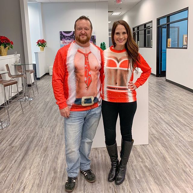 Hottest couple at the office party! 😆 #uglysweater #uglychristmassweater
