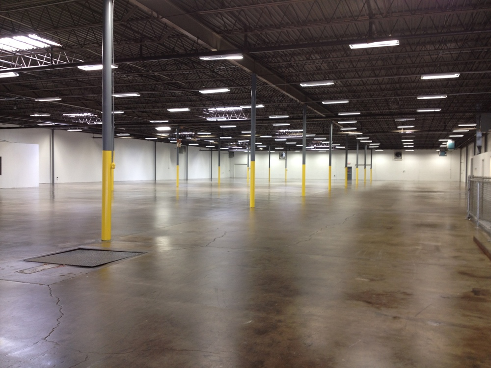 Warehouse dryfall painting, pre catalyzed epoxy walls, floor sealer, urethane columns