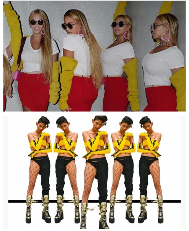 @beyonce wearing yellow ribbed knit sleeves, catch my version on visionsbyteonahknighton.com