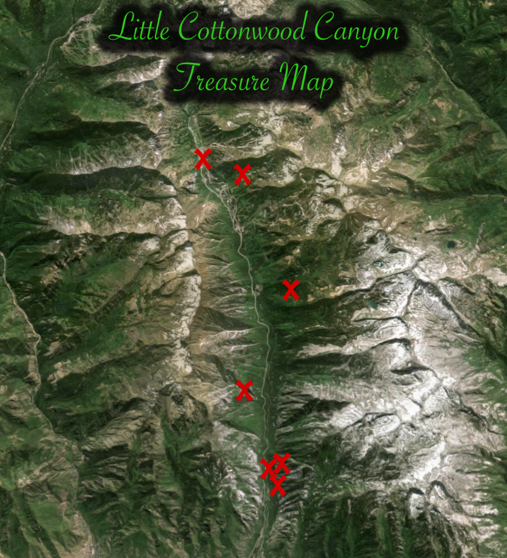 Map of treasure locations within Little Cottonwood Canyon