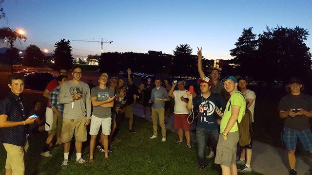 Pokemon Go players gathering at a Pokestop
