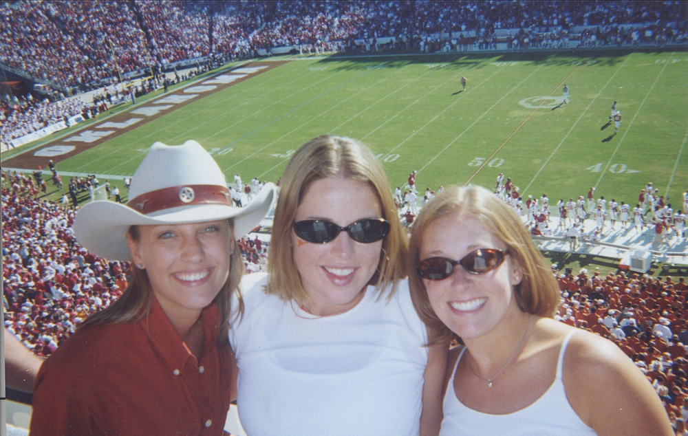 Cheering on my beloved Longhorns at the Red River Shootout vs. the Oklahoma Sooners, 2001.