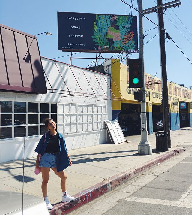 I am beyond joyful to see something that I created on a billboard as public art! I'm so used to sharing my work digitally that it was kind of mind blowing to see my work displayed this way. This is for all the people who are going through something. I hope that you are able to invest time and energy into your healing, and that you have a community to hold you as well. Thank you @werise_la, @k8deciccio for supporting this artwork and commissioning me for it!, and @candacereels for walking in the blistering heat with me to take this indulgent photo.