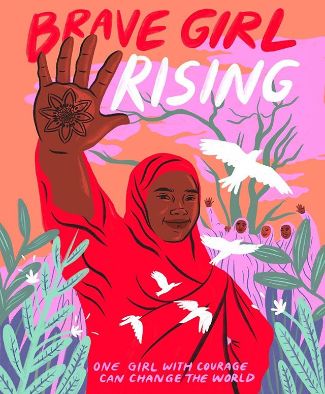 """So excited to share this artwork I created with @amplifierart for """"Brave Girl Rising"""", a new film by @girlrising and @wu_shire. Warsan Shire is one of my most favorite poets, and it was an honor to be able to amplify the story she brought to life with this amazing team. The movie is launching on Friday for International Women's Day, and this piece of art will be distributed for free in 6 cities! Check out my stories to see where you can get one. PS. You can see movie screenings and learn more at girlrising.org."""
