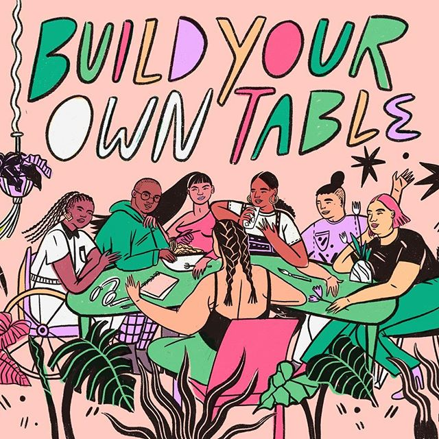 I'm all for taking a seat at the table, but I'm even more interested in what it looks like to build a new table altogether. To opt out of exploitative industries and create something new and collaborative and idealistic.  Playing with a sketch for a mural where we ended up going with another concept 😗
