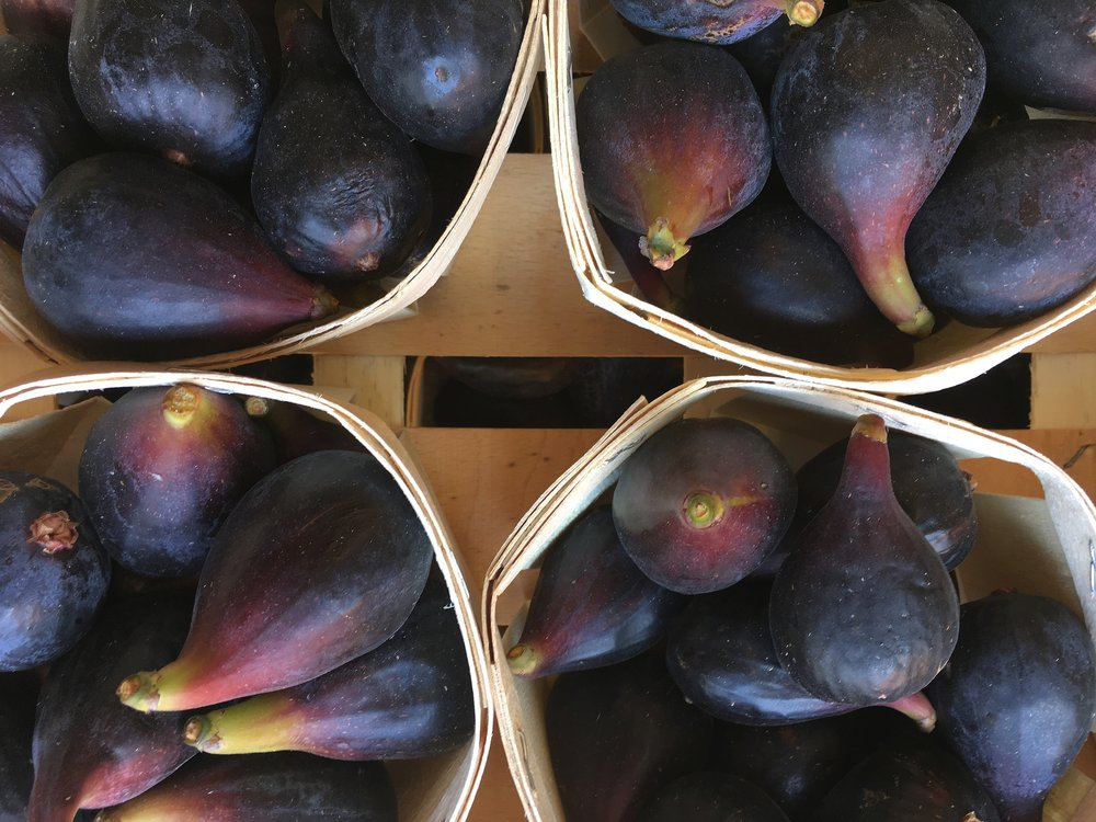 French Black Figs                                                                                    Photo ©Evie Saffron Strands   Sticky and sweet  Black Figs  from France and Italy.   Red  and  White  varieties of  Cherries  from France and England and the  Black/White/Red Currants  are ripening.     We may see  Mirabelle  and  Greengage Plums  from France and  Green Almonds  are now in season.  Weather permitting, we may see some English  Apricots .     NEW in:   The first  French Black Figs  of the summer season arrived today.  Many fig trees produce one crop a year but some varieties from warmer areas produce a second crop.  This is borne on new stem growth of the current year.  The first fruits ripen in early summer and are large and luscious, while the second crop is smaller and ready to pick through late summer into autumn.  These early summer treats need no enhancement. They are good quartered and served with Prosciutto ham or make a delicious dessert served just as they come.