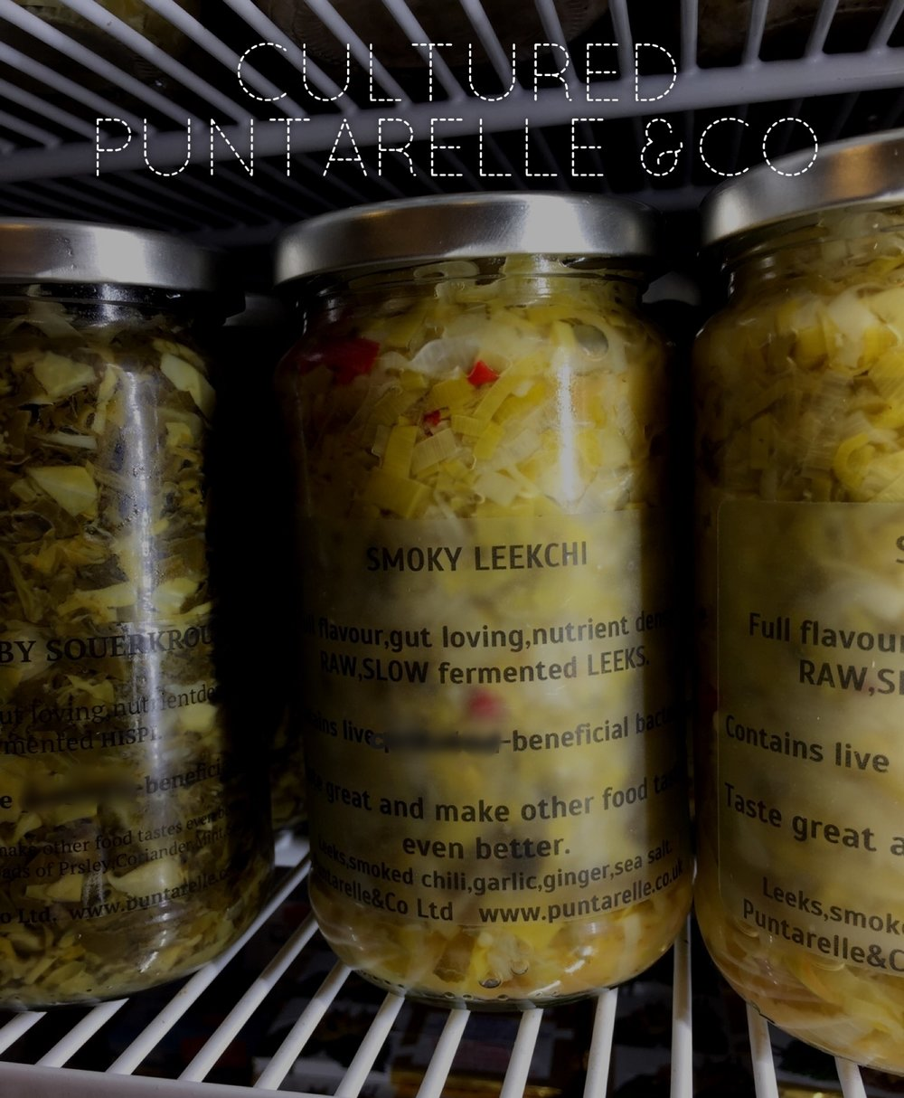 Smoky Leekchi Ferments                                      Photo ©Puntarelle@Co    NEW on our shelves:   Focusing on our  Fermented Vegetables    range this month we have 'Smoky Leekchi', a ferment of Leeks, smoked chilli, garlic and ginger.  Particularly delicious paired with dishes involving chicken or pulses.