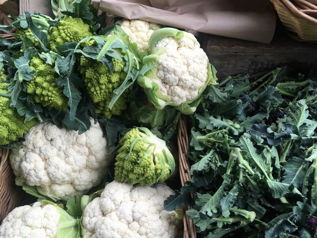White and Romanesco Cauliflower (and Sprouting Broccoli on the right)    Photo ©Evie Saffron Strands