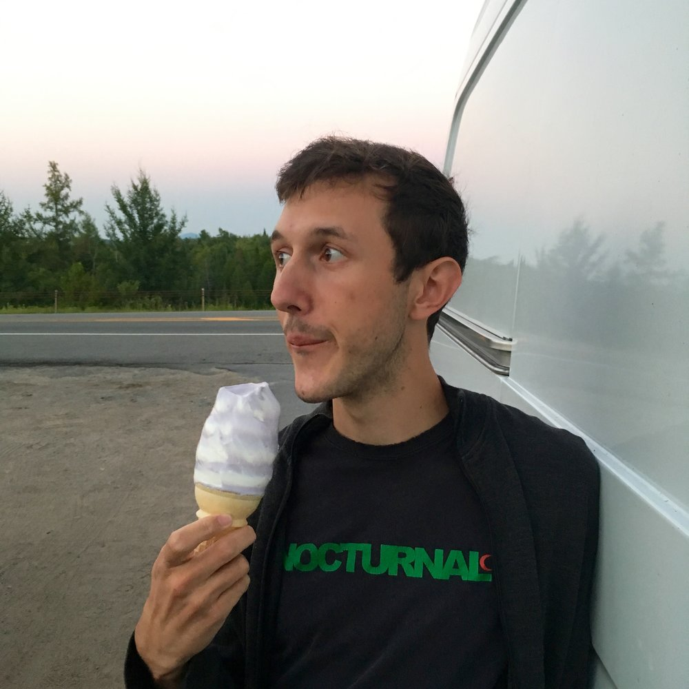 Enjoying some soft serve before leaving the Adirondacks