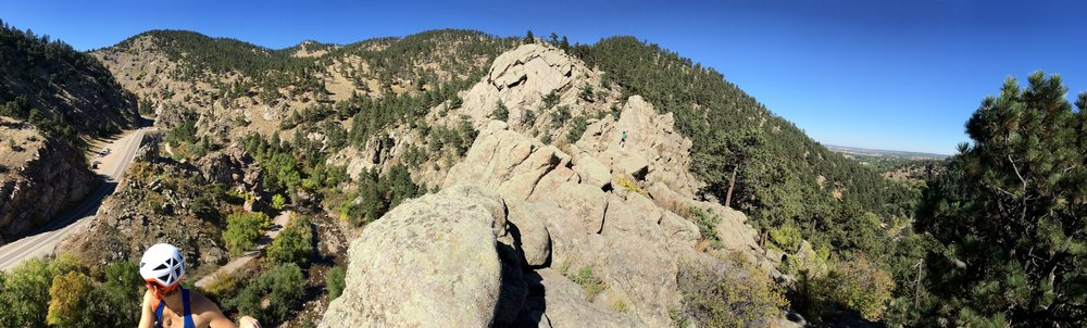 View from the top of a quick 5.8 climb in the Elephant Buttress area north of Boulder