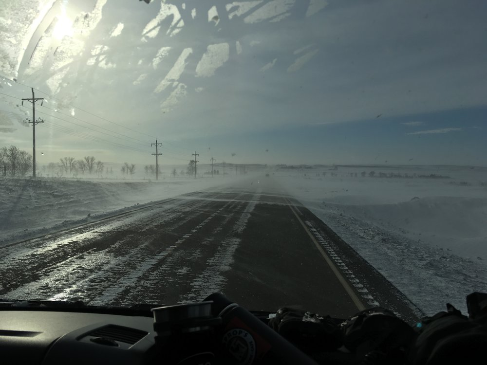 Icy roads and strong wind in ND