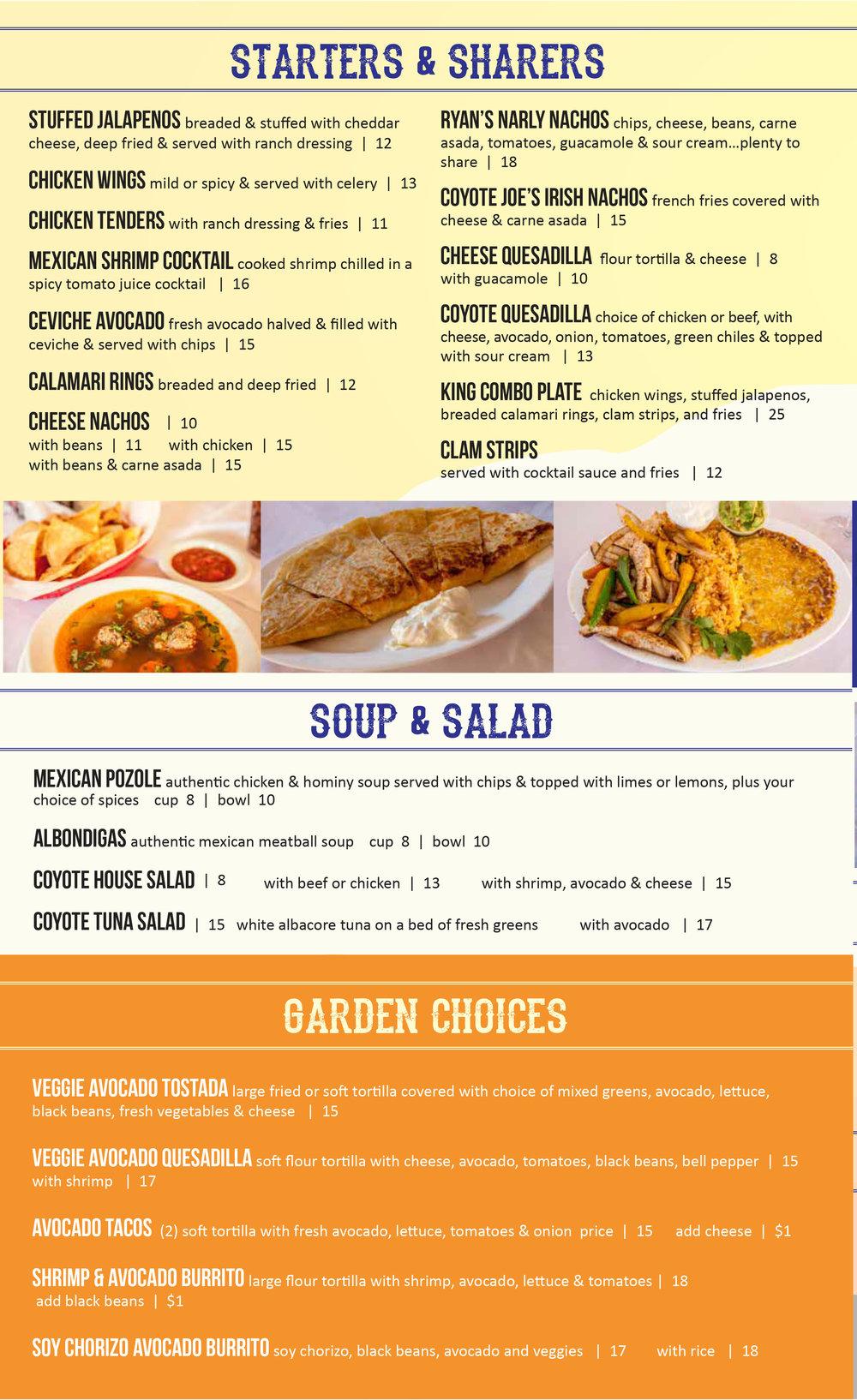 menu — coyote joe's