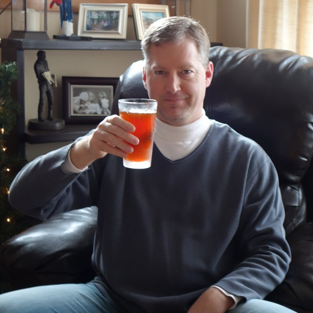 Sampling my first home-brewed beer, a grapefruit-infused IPA.