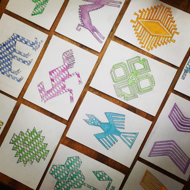 Watercolor Cards of woven Quechua symbols to promote the passage of symbolic knowledge to prospective buyers for Awamaki's woven line of goods, Ollantaytambo, Peru 2014