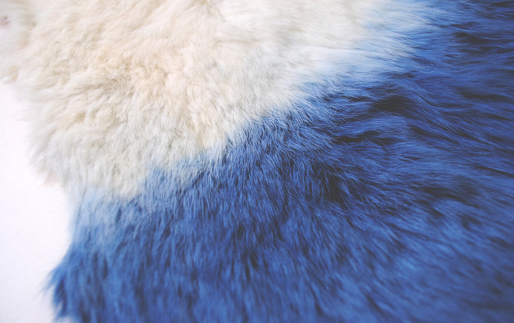 Indigo dyed Rabbit Fur