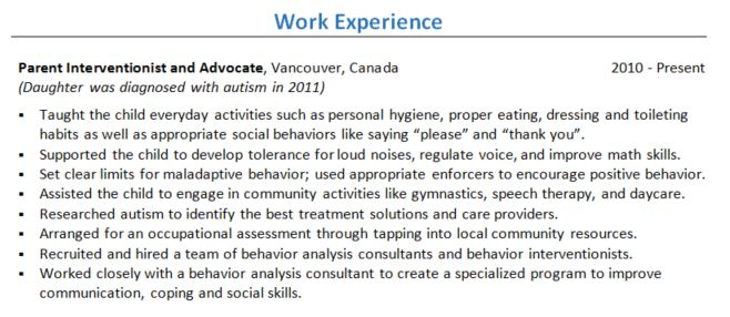 can i put parenting under work experience in my resume career story