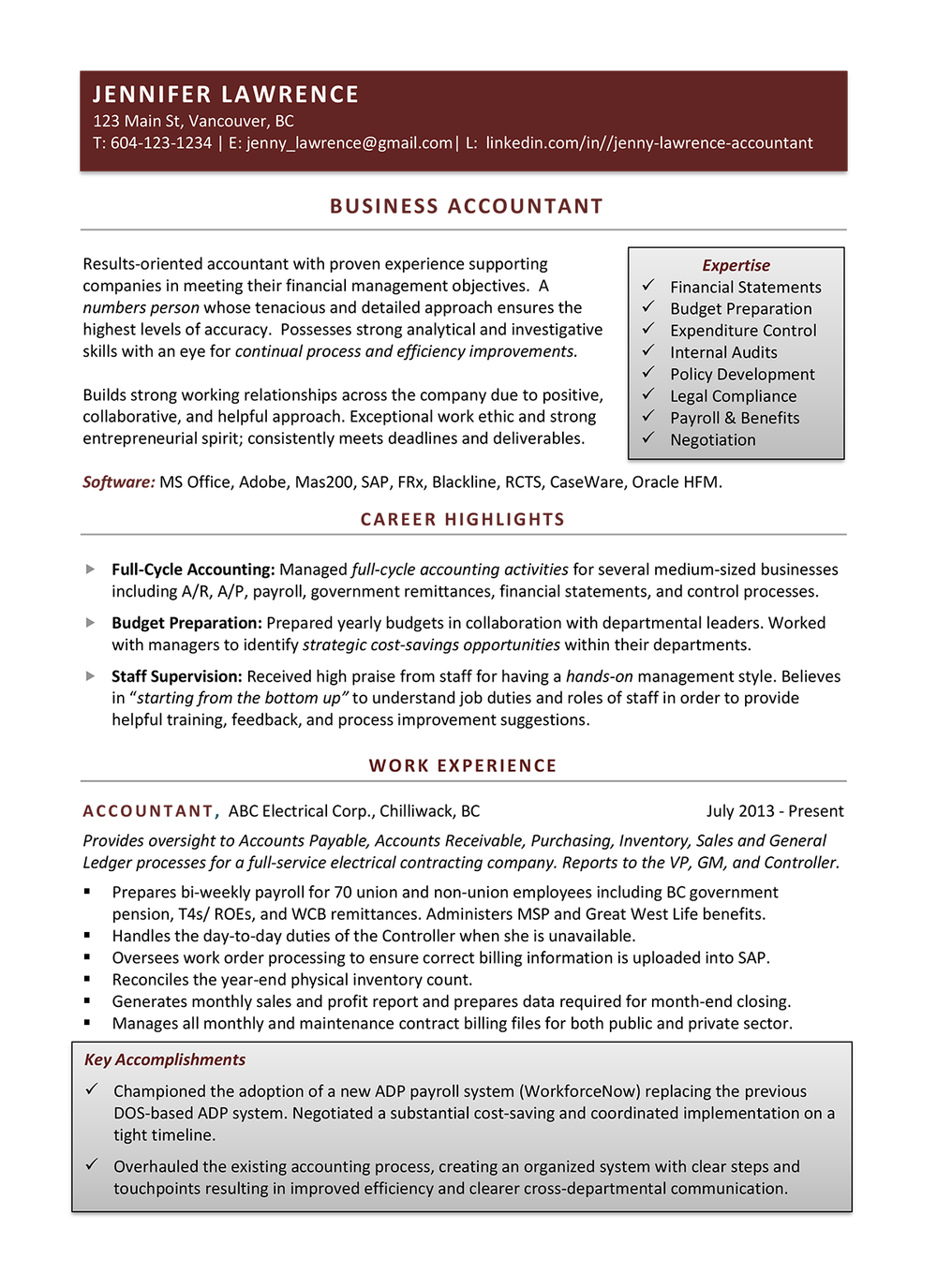 sample resumes career story
