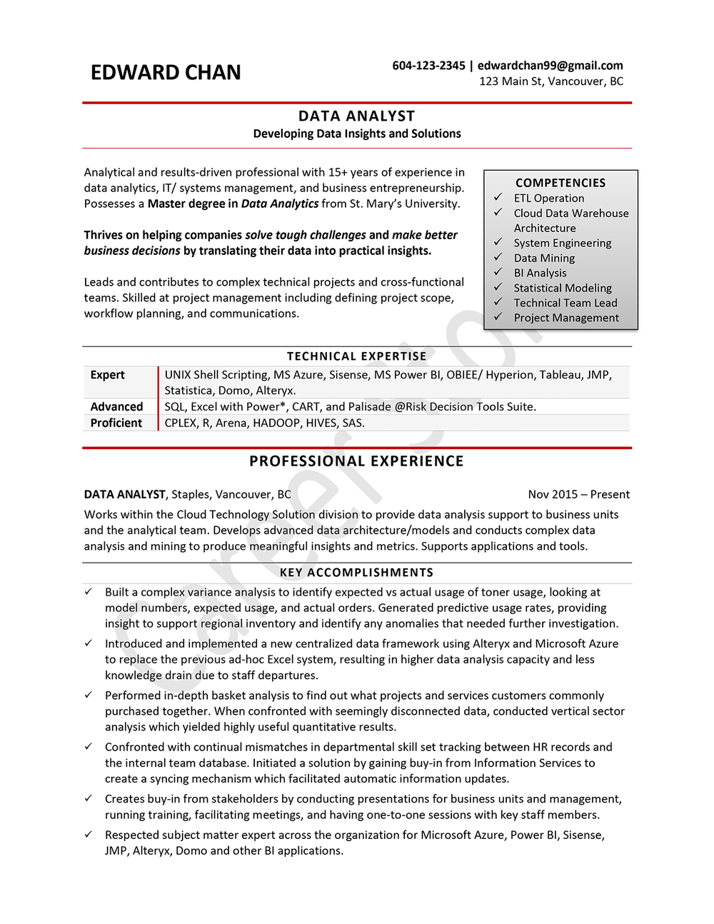 data analyst sample resume - Power Bi Resume