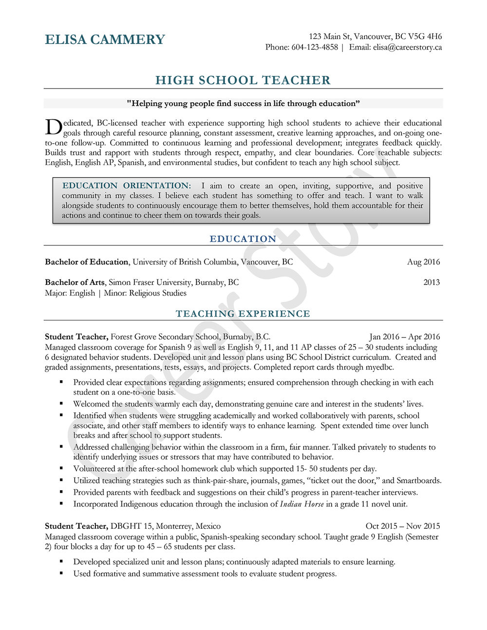 High School Teacher Sample Resume