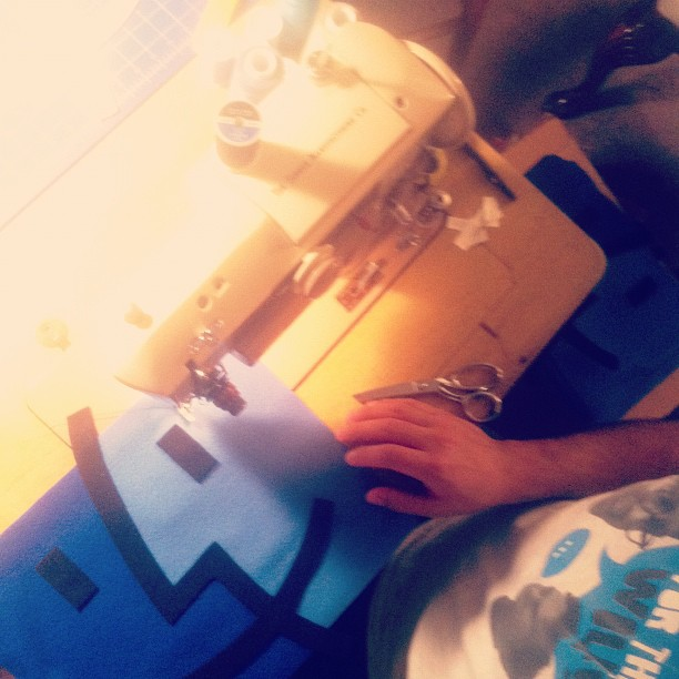 from the throwboy archives 2008 - Roberto sewing the first Icon Pillows