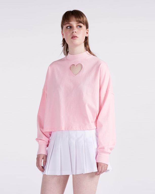 pink heart hole shirt LAZY OAF