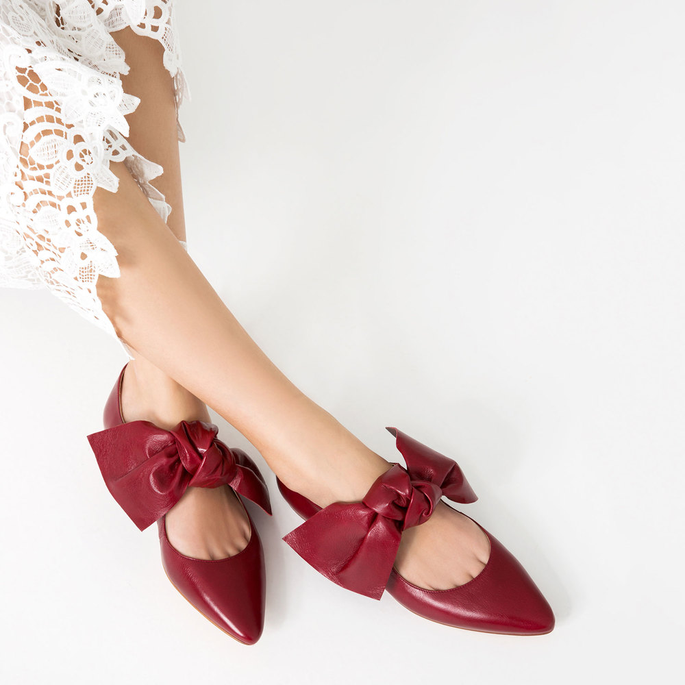 leather shoes with a bow ZARA