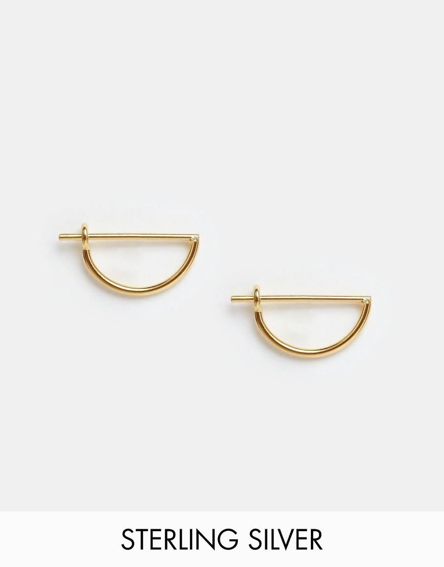Asos Gold Plated Sterling Silver Mini Semi Circle Hoop Earrings