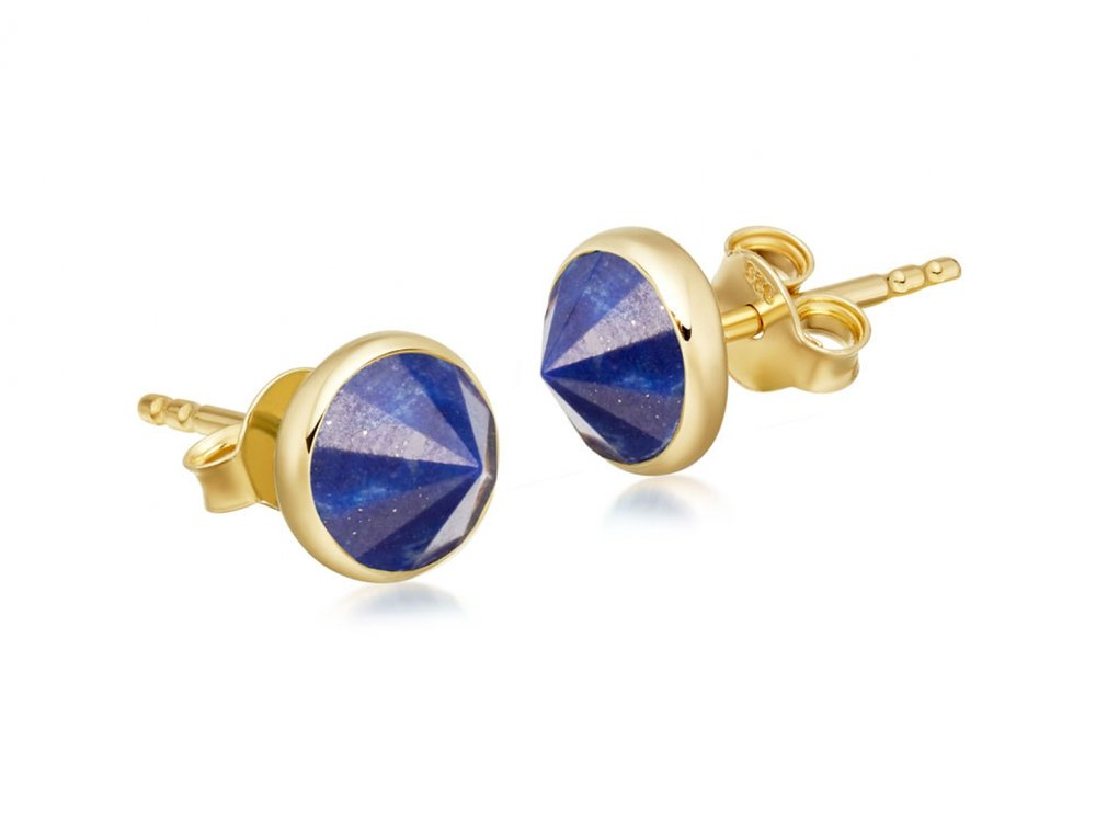 Blue Lapis Pointed Cone Studs