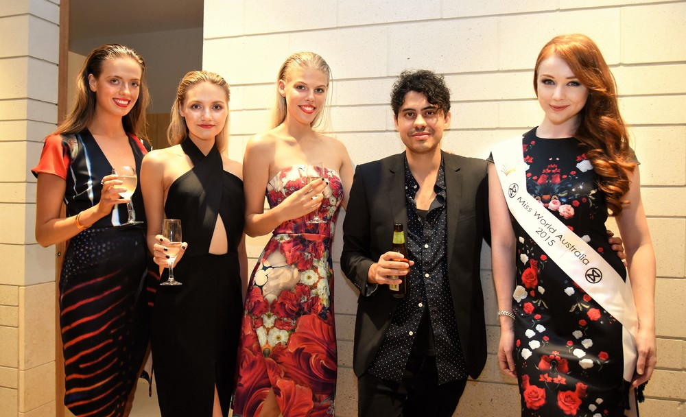 photo credit @Larissa Drazic   L-R Models Isabella,Riana and Laura, designer Benjamin Ringuet and Miss World Australia Tess Alexander