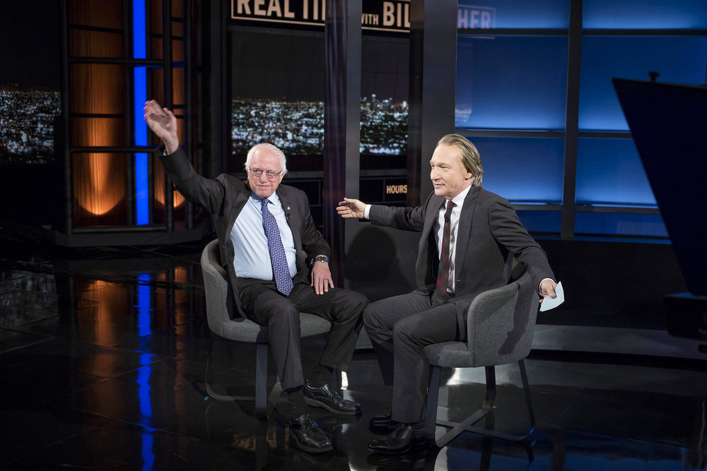 "Maher with Presidential candidate Bernie Sanders (left), who made an appearance on ""Real Time with Bill Maher"" in October. Photo by Janet Van Ham"