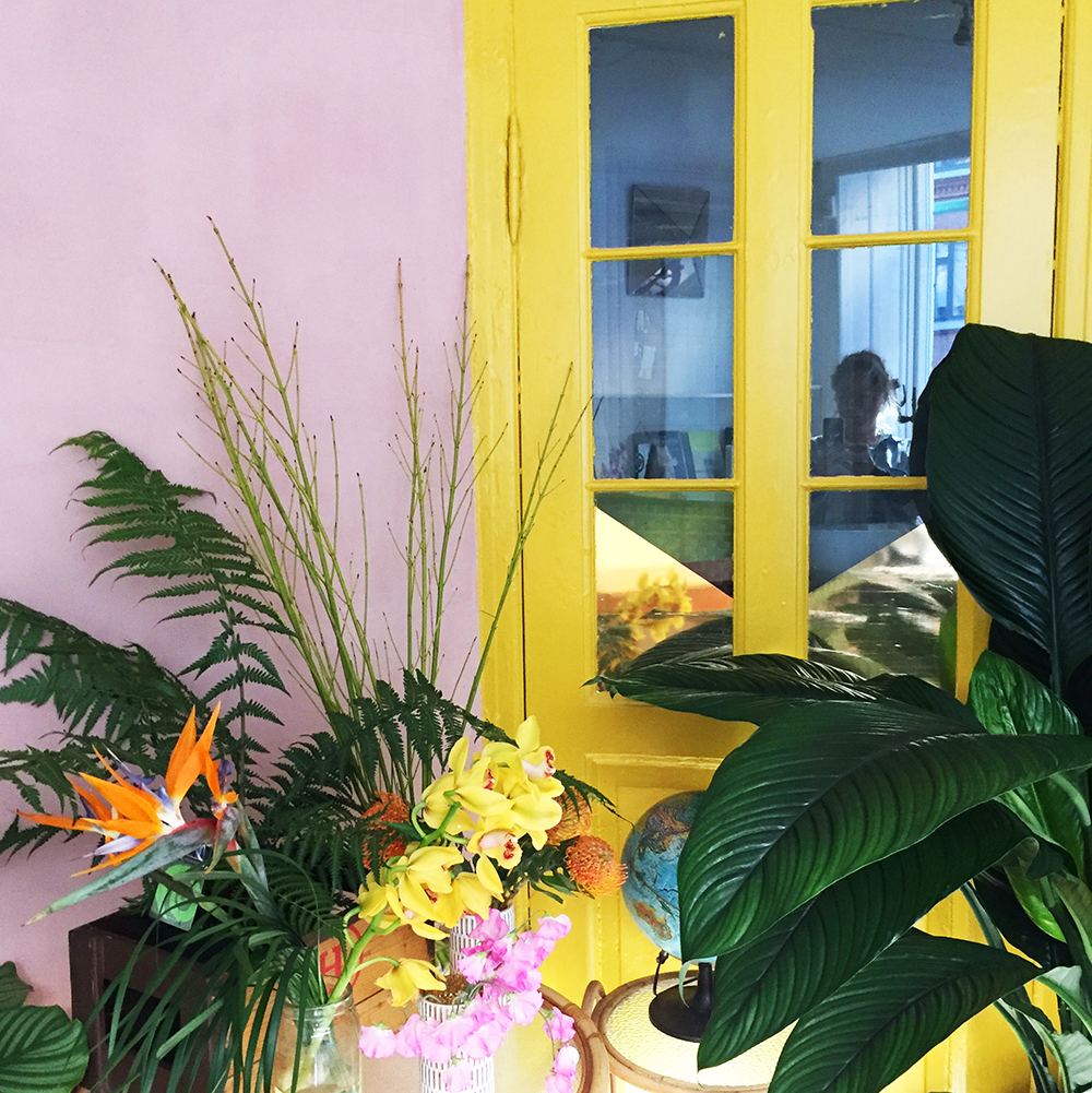 Eksotiske planter og gul og lyserød