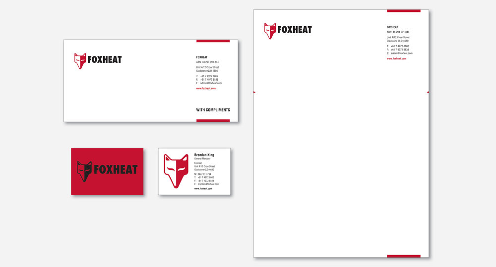 Here's a sample of how Foxheat's branding identify is rolled out in the form of corporate stationery.