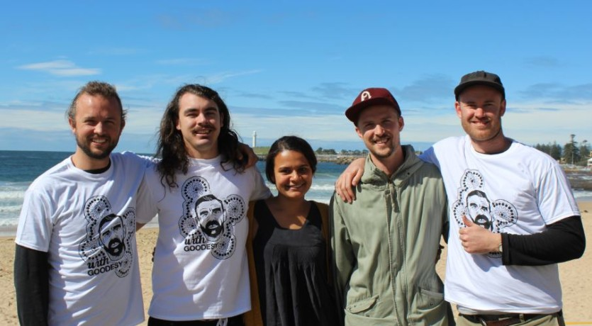 2015 YARN Sixty Thousand Coordinator from left Tim Pembroke with one of the Artist and Members of the T-Shirt 'With Goodesy' Campaign Team.