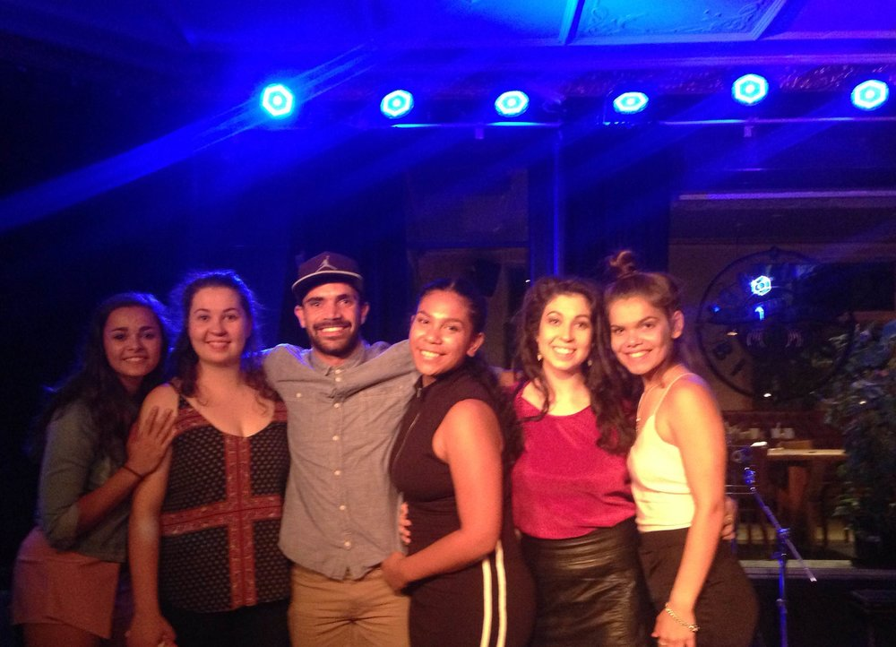 2016 NOVEMBER 24TH THURSDAY - YARN AUSTRALIA Hosting the NAISDA 40th Anniversary After Party. Congratulations Dancers who Graduating this year. Photo: Graduating Dancer Johnny Brown with some of the NAISDA Dancers Celebrating last night. #Deadly #Celebration #DeadlyYARN #NAISDA