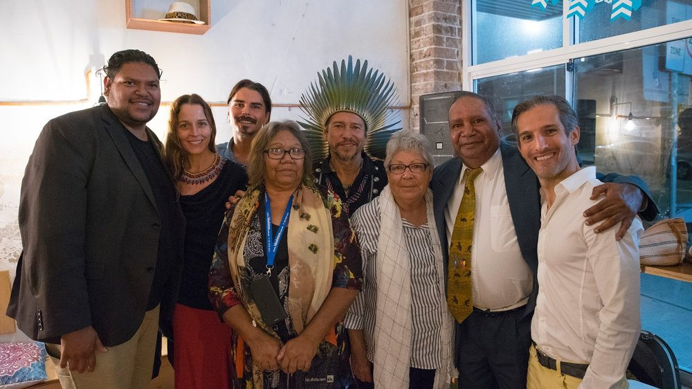 2017 APRIL 4TH YARN Australia Founder Warren Roberts brings Elders Aunty Linda Jackson, Aunty Barbara Simms Kealey, and Uncle Graham Merritt to meet Native American Chief Kuauhtli Vasquez, Ryan Whitewolf, Samart Sky, Jeffrey Slater in Bondi Beach.