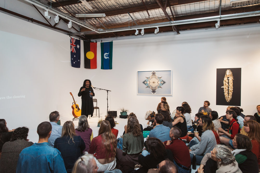 Here's the wonderful Maree Clarke speaking on Wednesday night at  @yarnaustralia 's Narrm (Melbourne) Launch at  @merringstudio . Illuminating to hear her story and insights into these powerful works. Thank you to  @vivienandersongallery  for their support.   @yarnaustralia   #community   #culture  #conversation   #storytelling   #art   #visualart  #indigenous   #aboriginal   #torresstraitisland  #australia   #sharedhistory   #Narrm   #Naarm  #Melbourne   #Northcote   #deadly  @ree_clarke