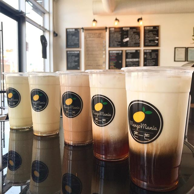Beautiful day to reopen! Yup - we are open & we've got lots of new things in store for you. [📷: Fresh Milk Teas, 7 varieties available hot or cold]