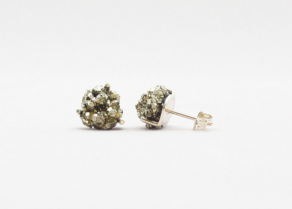 Pyrite & silver earrings