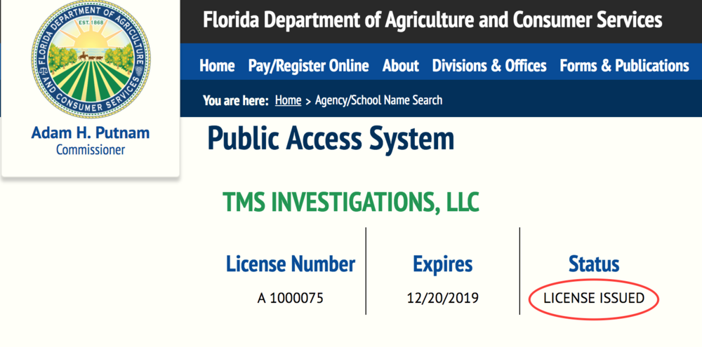 TMS Investigations agency license verification